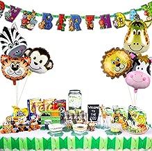 PartyTalk 6pcs Jungle Safari Animal Balloons with Zoo Animal Happy Birthday Banner, Safari Zoo Animals Party Supplies for Jungle Birthday Party Baby Shower Decorations