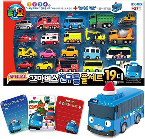 The Peu Bus TAYO Friends Special 19 Pcs Mini Voiture Full Set with Santa Tayo + 3 RemercieHommests voiturete (18.8  x 11.4  x 2.7 )