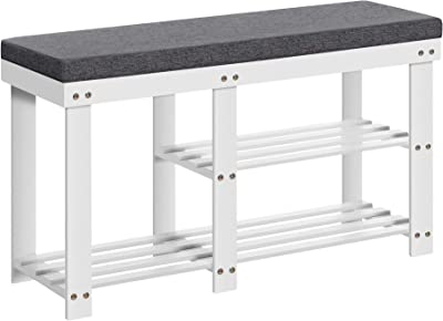 SONGMICS Padded Shoe Bench, Shoe Storage Bench with Cushion and Shelves, for Boots in Hallway Entryway, White and Gray ULBS606W01