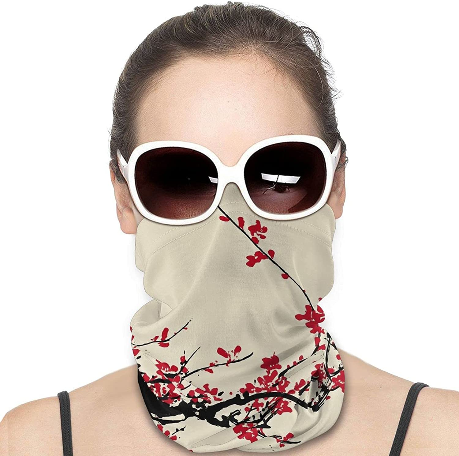 Japanese Floral Cherry Blossom Neck Gaiter Windproof Face Cover Balaclava Outdoors Magic Scarf Headband for Men Women Motorcycling Fishing Running Climbing