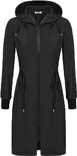 Womens Waterproof Long Raincoat Ladies Lightweight Hooded Rain Coat Outdoor Hiking Breathable Rain Jackets S-XXL