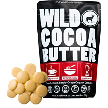 Raw Organic Cocoa Butter Wafers from Peru   Unrefined, Non-Deodorized, Food Grade, Plant-Based, Paleo, Vegan Body Butter - Great for DIY Recipes, Smoothies, Keto Coffee, Skincare and Haircare (8 oz)