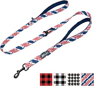 PoyPet 5 Feet Dog Leash - 2 Cushioned Handles - Functional Car Seat Belt - Fashionable Pattern(4 Styles)