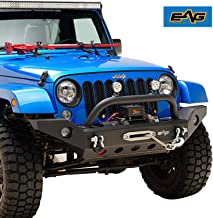 EAG Front Bumper with Winch Plate and D-rings Black Textured Fit for 07-18 Jeep Wrangler JK Offroad