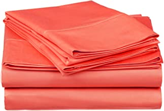 Superior 100% Premium Combed Cotton, 300 Thread Count 5-Piece Bed Sheet Set, Single Ply Cotton, Deep Pocket Fitted Sheets, Soft and Luxurious Bedding Sets - Split King, Coral