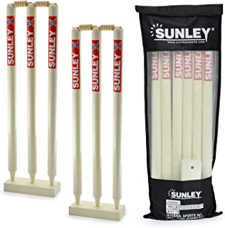 Sunley Wooden Wicket Set 31'' Inches Length for Both Sides(6 Piece Wooden wickets, 4 Piece bails, 2 Piece Wooden Base and 1 Piece kit Bag