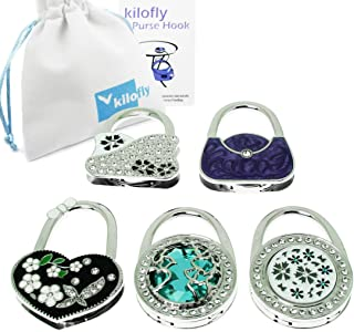 kilofly Purse Hook [Set of 5] - Foldable - Floral Lake, with kilofly Pouch