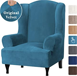 Real Velvet Elegant Luxury High Spandex Sofa Cover Stretch Furniture Protector, 1 Piece Super Stretch Stylish Wingback Chair Cover Slipcover Machine Washable, Peacock Blue, Wing Chair