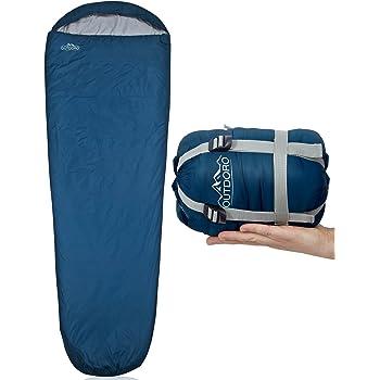 Outdoro ultraleichter Schlafsack - kleines Packmaß - leicht, dünn und warm - Sommerschlafsack (100 g/m²) / 3-4 Jahreszeiten (2x125 g/m²) - Idealer Mumienschlafsack für Herren, Damen, Erwachsene