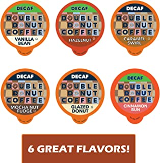 Decaf Flavored Coffee Variety Pack - 6 Traditional Flavors (Caramel Swirl, Hazelnut, Glazed Donut, Mocha Nut Fudge, Vanilla Bean, and Cinnamon Bun) for Keurig K Cups Coffee Makers - 72 Count