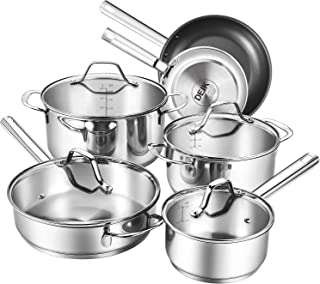Deik Cookware Kitchenware Set, MultiClad Pro Stainless Steel Pots and Pans Set, Rustproof & Oven-Safe Cooking Pots, PFOA Free & Riveted Handles