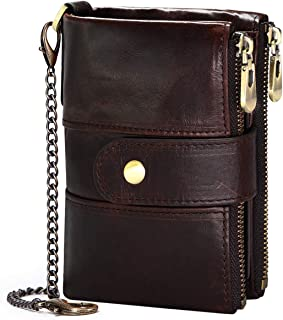 Men Purse Wallet RFID Blocking Real Leather Ladies Purses with Chain Multi Compartment Purses for Women with Double Zip, S...