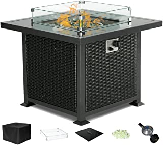 Yamadao CSA Certified Gas Propane Patio Fire Pit Table Square Outdoor Table with Fire Pit, Auto-Ignition Resin Wicker, w/Tempered Glass Cover & Desktop/Clear Fire Glass/Wind Guard/Oxford Cover, Black