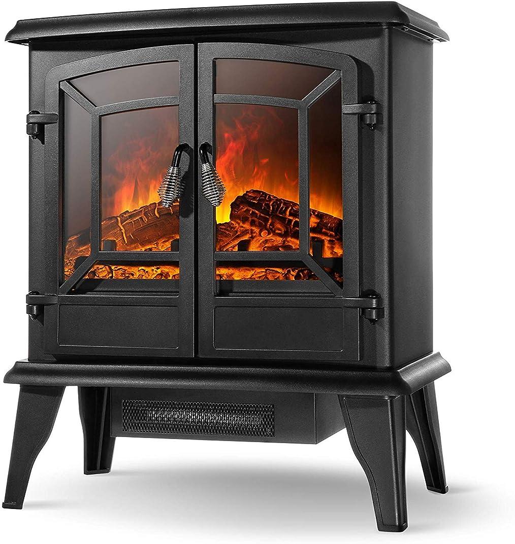 薬局伝染性電子電気ストーブ暖炉ストーブ、自立型電気暖炉ストーブヒートログフレームストーブ1400W、黒