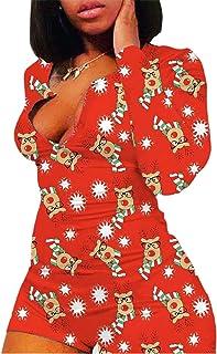 Mylleure Women Christmas Long Sleeve Short Jumpsuit Button Down V Neck One Piece Bodysuit Halloween Romper Pajama Party