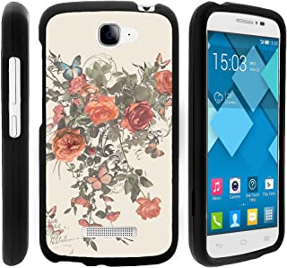 Snap On Compatible with Alcatel One Touch Fierce 2 7040T, Slim Fit Snug Rubberized Custom Cover Shell Black Pop Icon A564C by TurtleArmor - Elegant Roses