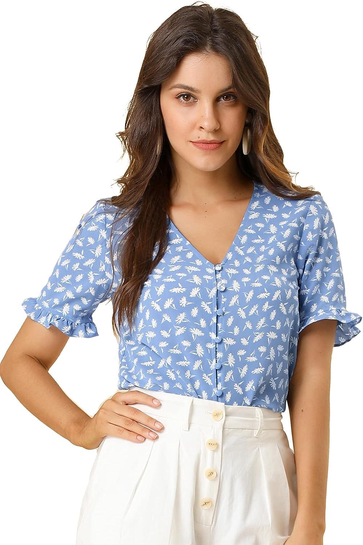 Allegra K Women's Floral Print V Neck Short Sleeve Button Front Blouse Top