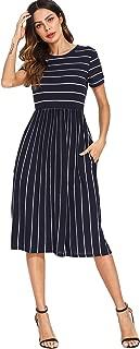 Women's Striped Pockets Casual Swing Midi Skater Dress