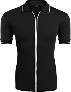 Mens Full Zip Polo Shirt Slim Fit Casual Cotton Contrast T Shirts