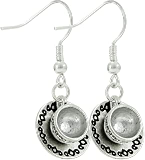 Cute Tea Cup and Saucer Silver Tone Earrings, Coffee Lover Gift, Handmade Dangle Women's Earring Set