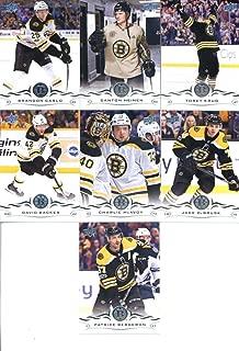 2018-19 Upper Deck Series 1 and 2 Hockey Complete Boston Bruins Team Set of 12 Cards: Charlie McAvoy(#13), David Backes(#14), Jake DeBrusk(#15), Torey Krug(#16), Brandon Carlo(#17), Danton Heinen(#18), Patrice Bergeron(#19), Brad Marchand(#265), David Pastrnak(#266), Tuukka Rask(#267), David Krejci(#268), Zdeno Chara(#269)