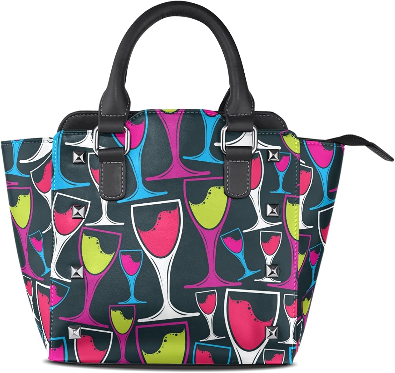My Little Nest Women's Top Handle Satchel Handbag Decorative Stylish Wine Goblets Ladies PU Leather Shoulder Bag Crossbody Bag