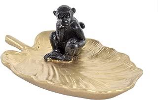 Item Black Resin Monkey on Yellow Jewelry Dish Ring Holder, 5.43