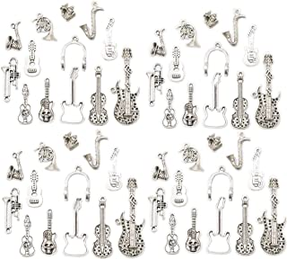 Assorted 52pcs Musical Instrument Alloy Pendants Bass Guitar Horn Cello Viola Trumpet Sax Wine Glass Charms Bracelet Necklace Jewelry Making Beads for Birthday Christmas Valentine's Gift