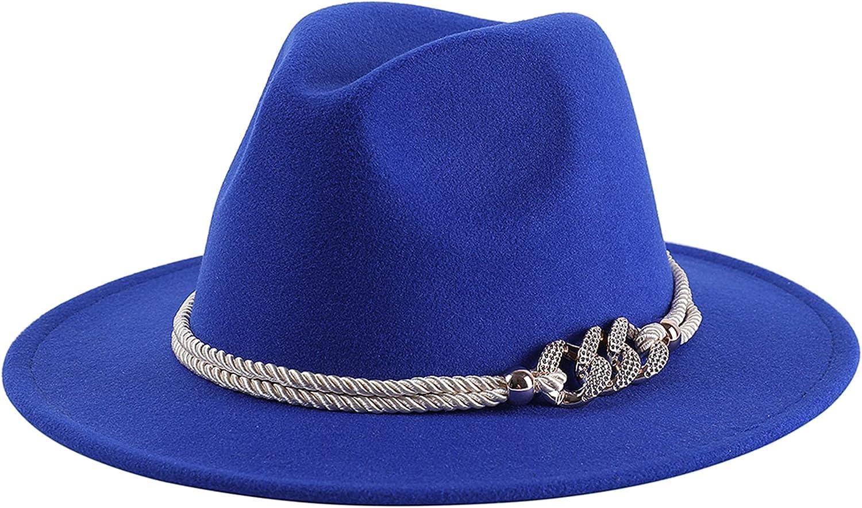 Lanzom Vintage Fedora Hats for Women Warm Wool Felt Wide Brim Hat with Rope Belt Panama Hat