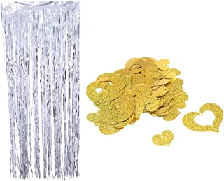 Colcolo Tinsel Tinsel Silver Length 100cm with Heart Pendant Decoration - Gold