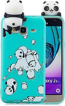 Leton Coque Samsung Galaxy J3 2016 Silicone Coque Samsung Galaxy J3 2016 3D Motif Panda Vert Housse Samsung J3 2016 Antichoc TPU Souple Étui Cute ...