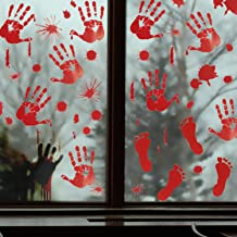 Pawliss Halloween Decorations Window Clings Decals Decor, Bloody Handprint Footprint Horror Bathroom Zombie Party Decorations Supplies, 12 inches by 17 inches Sheet, 105 Pcs