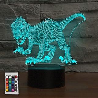 3D Lámpara óptico Illusions Luz Nocturna, KidsPark Dinosaurio LED Lámpara de Mesa Luces de Noche para Niños Decoración Tabla Lámpara de Escritorio Colores Cambio con Control Remoto y Cable USB