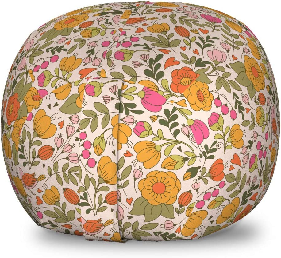 Ambesonne Our shop most popular Floral Storage Sale Special Price Toy Bag Pat Flowers Theme Spring Chair