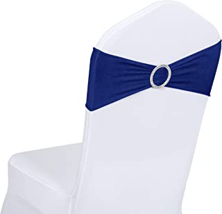 Obstal 50 PCS Spandex Stretch Chair Sashes Bows for Wedding Reception- Universal Elastic Chair Cover Bands with Buckle Slider for Banquet, Party, Hotel Event Decorations Royal Blue Sashes