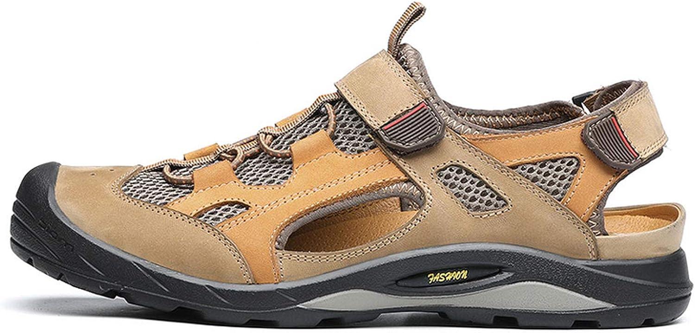 FINDYOU 2019 Sandals Men Outdoor Summer shoes Beach Flat Heel Comfortable Breathable Sandals,Khaki,8.5