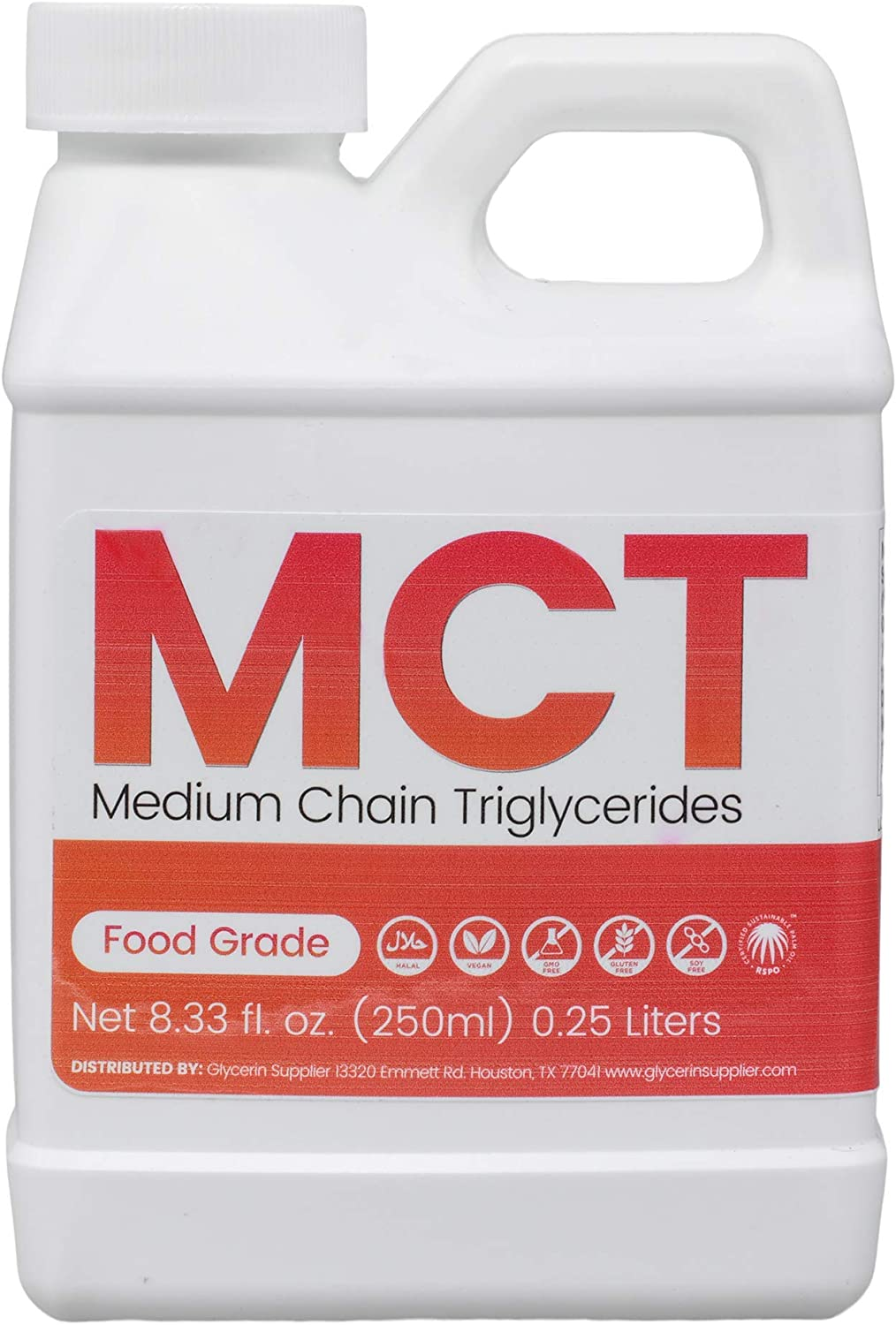 MCT Oil - 250mL (8.45 Oz.) Sustainable Palm Derived - USP Food and Pharmaceutical Grade - Non GMO - Halal - for Sports Nutrition, Keto or Paleo Diet, Clean Energy, Extracts