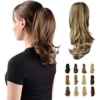 """Sofeiyan 13"""" Ponytail Extension Long Curly Ponytail Clip in Claw Hair Extension Natural Looking Synthetic Hairpiece for Women, 4.40oz"""