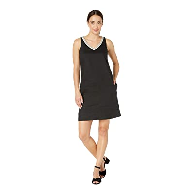 Tommy Bahama Lux Linen Embellished Shift Dress (Black) Women