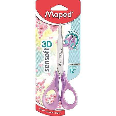 Maped - Ciseaux Sensoft 16 cm avec Anneaux Souples et Ergonomie 3D - Ciseaux Scolaires dès 12 Ans - Pour Collège et Lycée - Anneaux Confortables et Agréables - Coloris Pastel Violet 486291