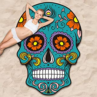 Ricdecor Skull Beach Towel Blanket, Skull Floral Design Mexico Beach Towel Oversized, Funny Towel 65X53 inch (Teal_Floral)