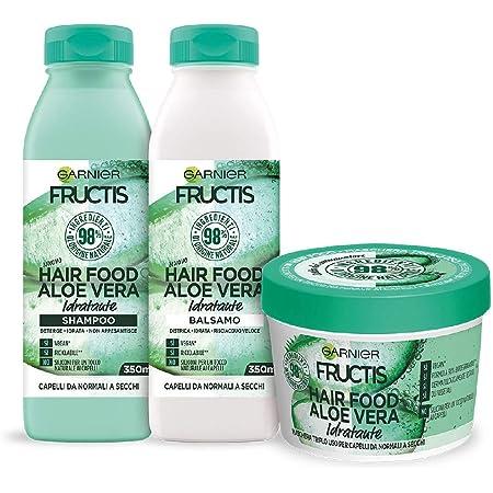 Garnier Fructis Hair Food Aloe Idratante, Kit con Shampoo, Balsamo e Maschera per Capelli Normali, 98% di Ingredienti di Origine Naturale, Senza Siliconi