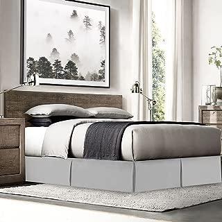 "Empyrean Bedding Pleated Bed Skirt - Luxury Microfiber Dust Ruffle - 14"" Tailored Drop - Sleek Modern Bed Skirt - Bonus Bed Skirt Pins Set of 8 Included, King, Silver"