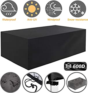 Tvird Patio Furniture Covers,Outdoor Furniture Covers Waterproof, 600D Heavy Duty Oxford Fabric,Table and Chair Patio Set Covers Windproof 242 x 162 x 100 cm(Black)