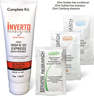 Complex Brazilian Keratin Hair Blowout Treatment Formaldehyde Free with Inverto 120ml with Clarifying Shampoo Straighten Repair and Smooth Hair by Keratin Research Keratina Brasilera
