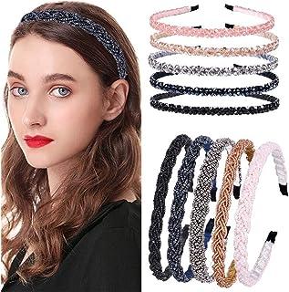 10 Pieces Elegant Women's Beaded Hair Hoop Bling Crystal Rhinestone Hair Hoop Fashion Bead Hair Band Headband Accessories