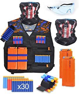 BROADREAM Kids Tactical Vest Kit for Nerf Guns N-Strike Elite Series Tactical Vest for Boys with Reload Darts, Reload Clips, Face Mask, Wrist Band and Protective Goggle