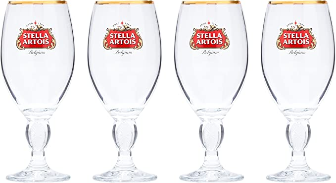 2 Stella Artois Toughened Pint Beer Glass Embossed Logo /& Etched Star Pair Of