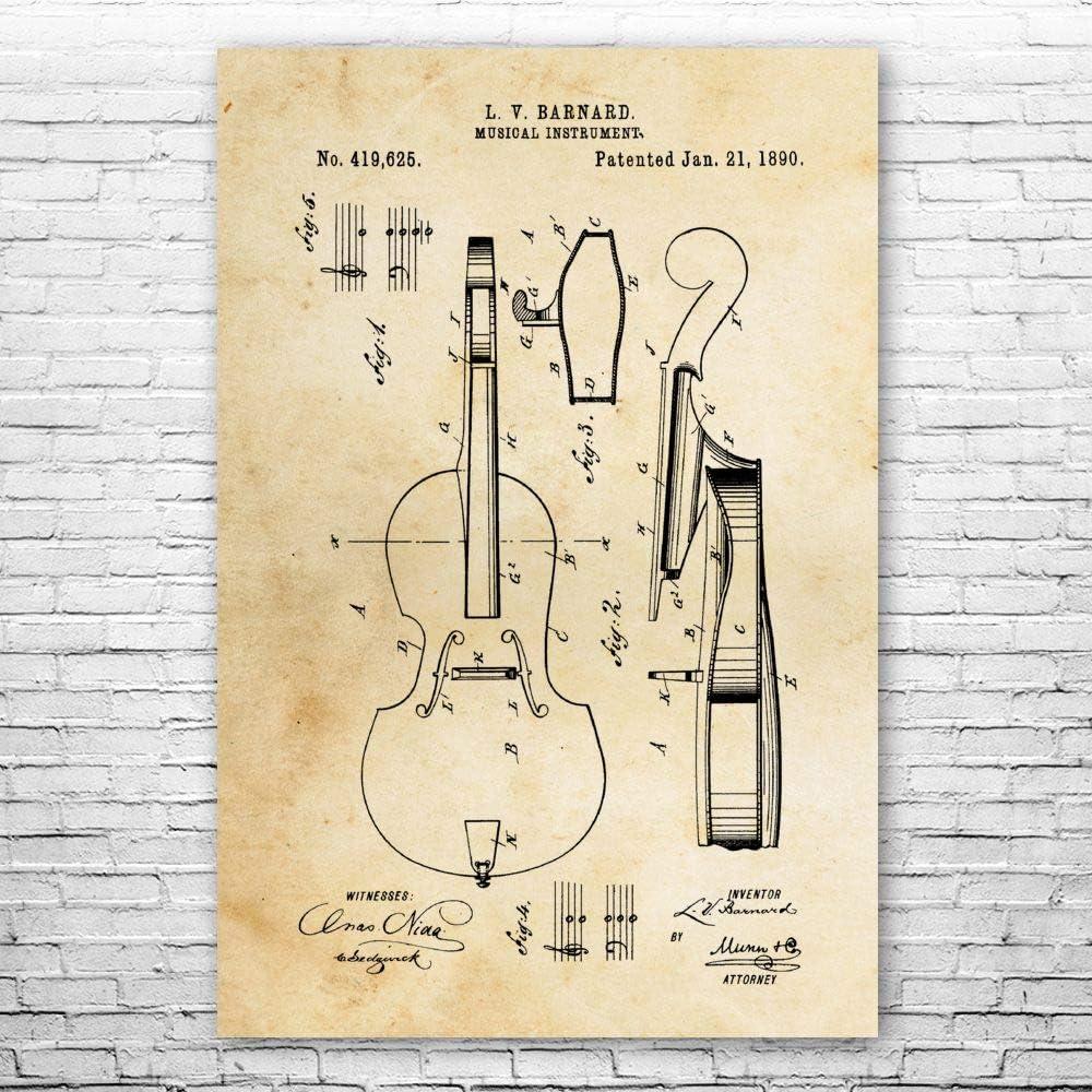 Cello Poster Print Blueprint Music Class Gift 最新アイテム 販売期間 限定のお得なタイムセール Musician