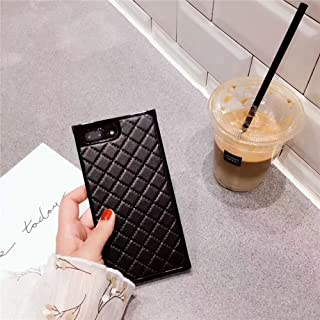 Grid Leather Cases for iPhone 7plus Diamond Lattice Back Cover for iPhone 8Plus Rhombic Sheepskin Capa Fundas for iPhone 7 Plus/8 Plus (iPhone 7 Plus/8 Plus 5.5'', Black)